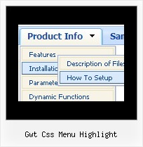 Gwt Css Menu Highlight Web Menu Graphics