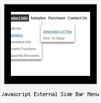Javascript External Side Bar Menu Dynamic Menu Horizontal