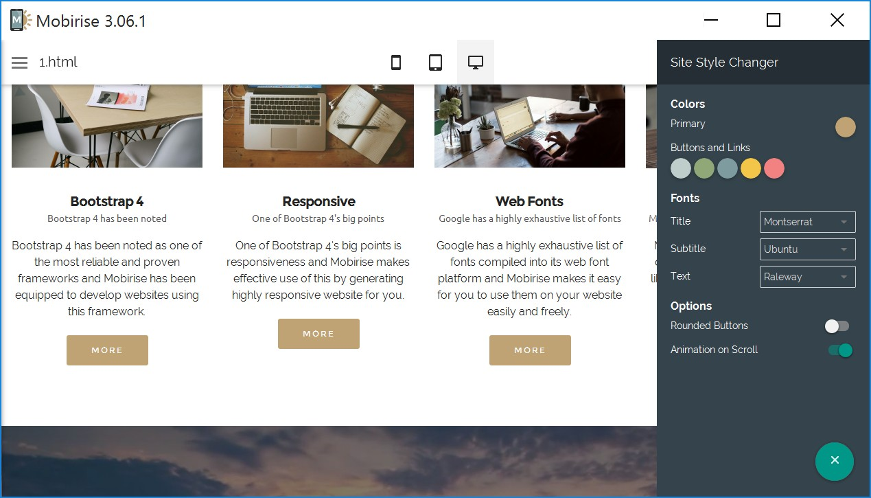WYSIWYG Responsive Site Builder Software
