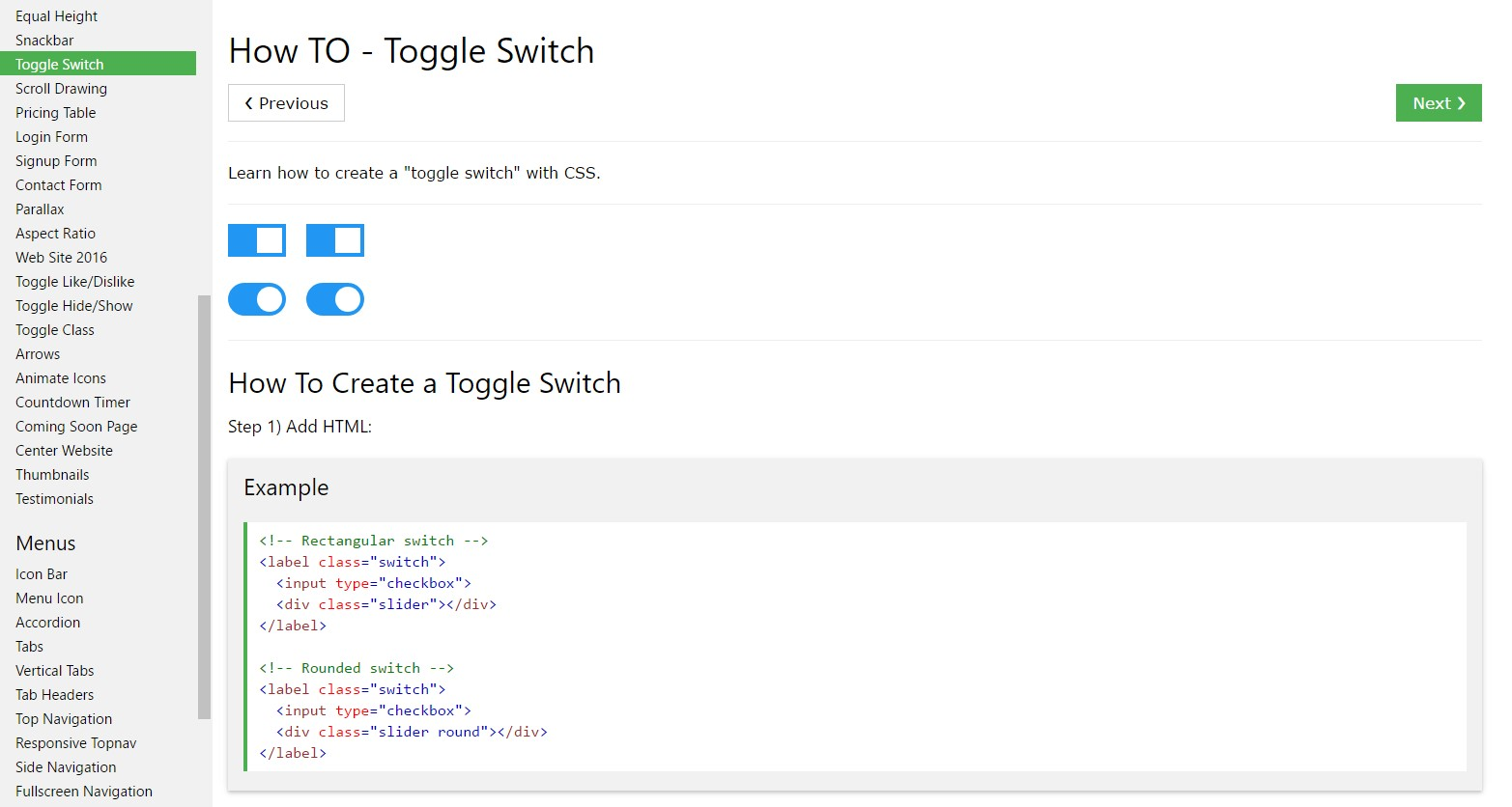 Ways to  provide Toggle Switch