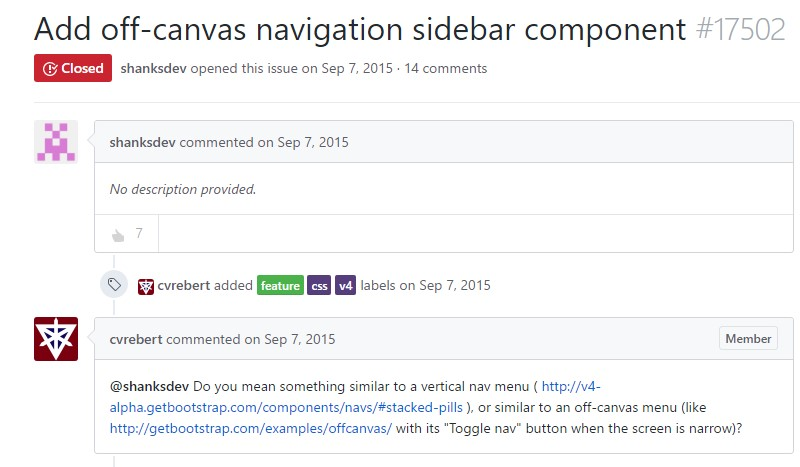 Add in off-canvas navigation sidebar component